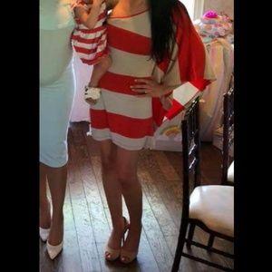 Express one shoulder striped dress